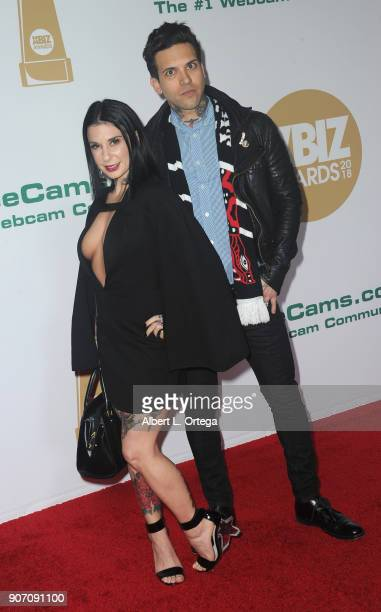Joanna Angel and Small Hands arrive for the 2018 XBIZ Awards held at JW Marriot at LA Live on January 18 2018 in Los Angeles California
