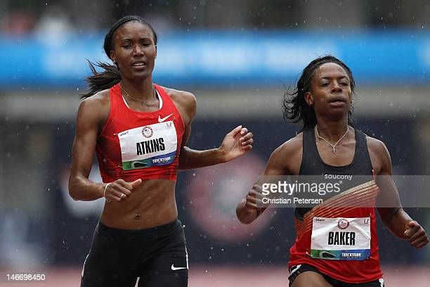 Joanna Atkins and Keshia Baker compete in opening round of the women's 400 meter dash during Day One of the 2012 US Olympic Track Field Team Trials...