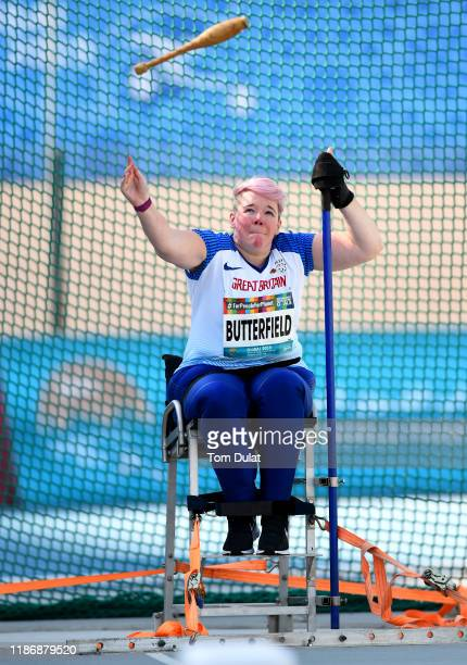 Joanna Butterfield of Great Britain competes during the Women's Club Throw F51 Final on Day Five of the IPC World Para Athletics Championships 2019...