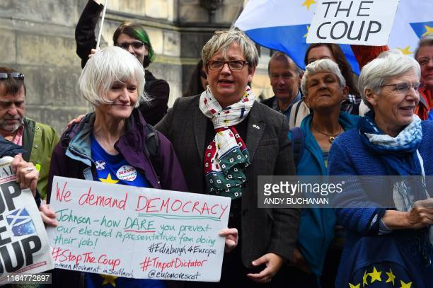 Joanna Cherry Scottish National Party MP poses with antiBrexit protestors outside the Court Of Session in Edinburgh Scotland on August 30 2019...