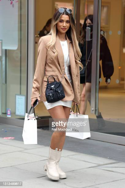 Joanna Chimonides seen shopping at Pandora Marble Arch store as restrictions in the UK are eased on April 20, 2021 in London, England.