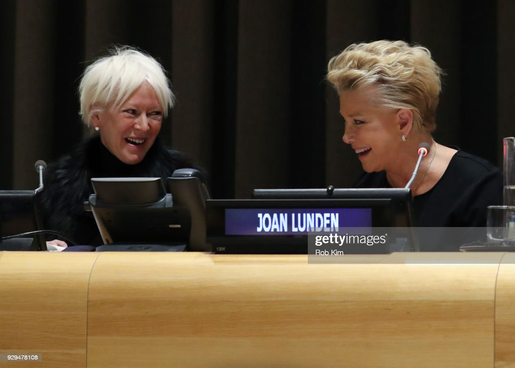 Joanna Coles and Joan Lunden attend International Women's Day The Role of Media To Empower Women Panel Discussion at the United Nations on March 8, 2018 in New York City.