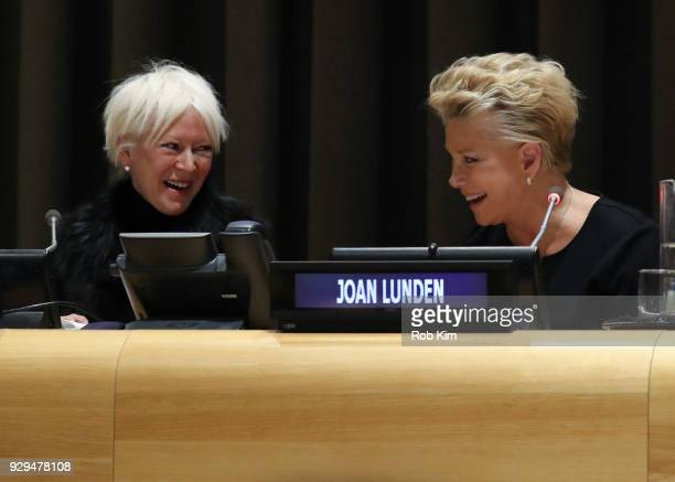 Joanna Coles and Joan Lunden attend International Women's Day The Role of Media To Empower Women Panel Discussion at the United Nations on March 8...