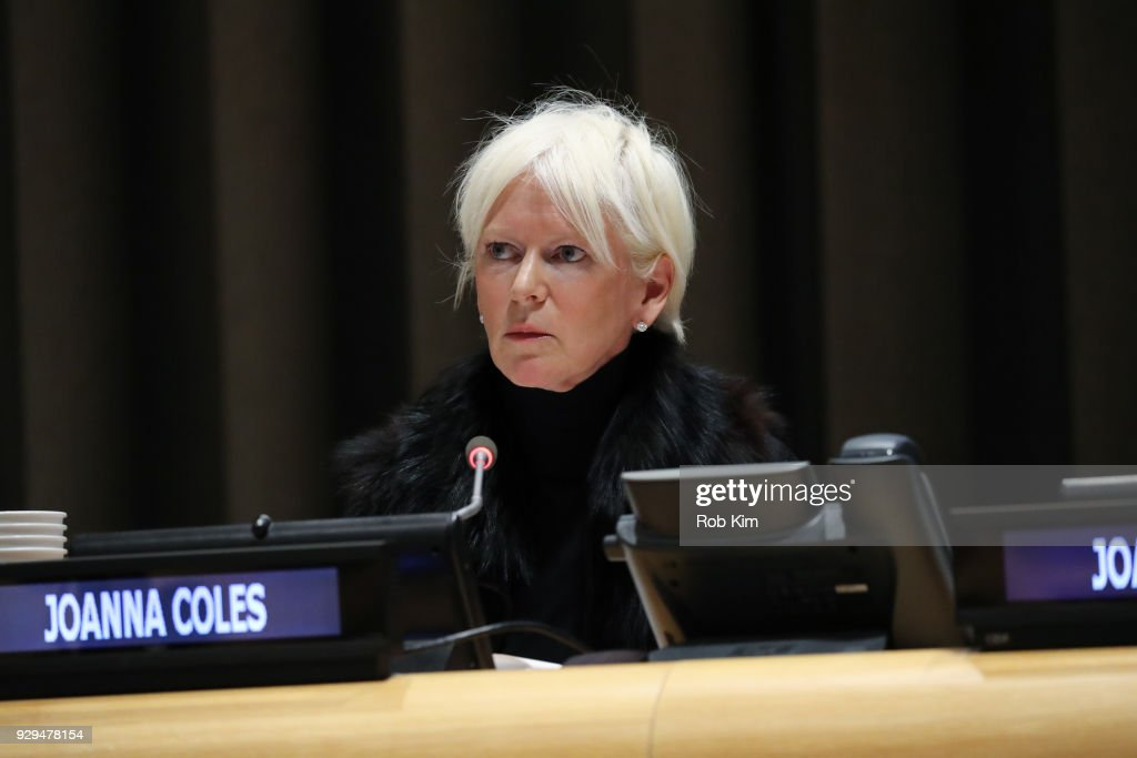 Joanna Coles attends International Women's Day The Role of Media To Empower Women Panel Discussion at the United Nations on March 8, 2018 in New York City.