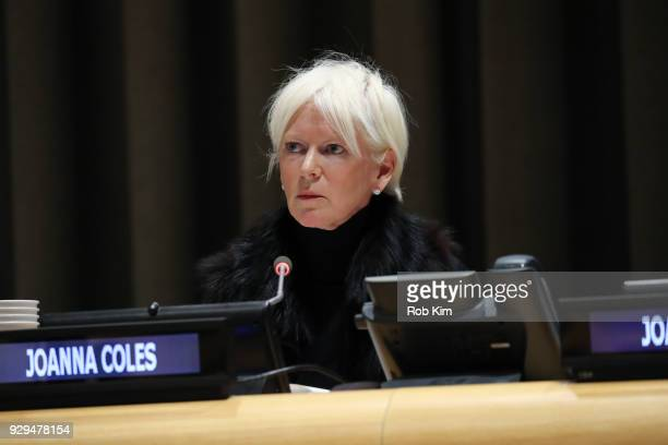 Joanna Coles attends International Women's Day The Role of Media To Empower Women Panel Discussion at the United Nations on March 8 2018 in New York...