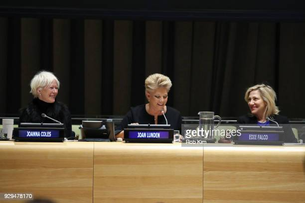 Joanna Coles Joan Lunden Edie Falco attend International Women's Day The Role of Media To Empower Women Panel Discussion at the United Nations on...