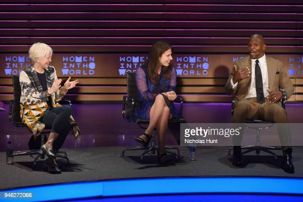 Joanna Coles Lauren Duca and Terry Crews speak onstage at the 2018 Women In The World Summit at Lincoln Center on April 14 2018 in New York City