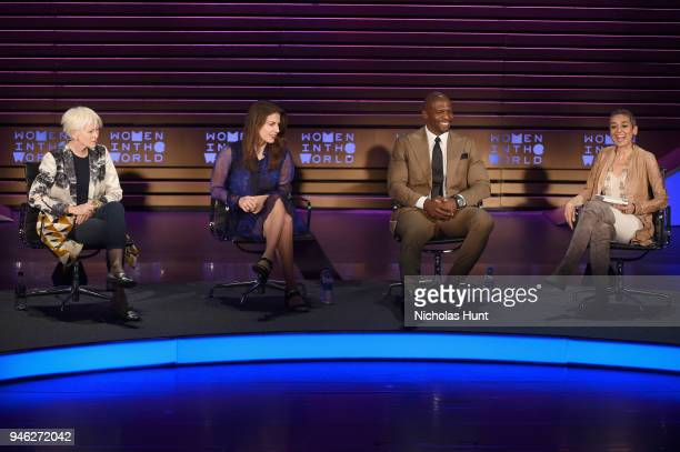 Joanna Coles Lauren Duca Terry Crews and Zainab Salbi speak onstage at the 2018 Women In The World Summit at Lincoln Center on April 14 2018 in New...
