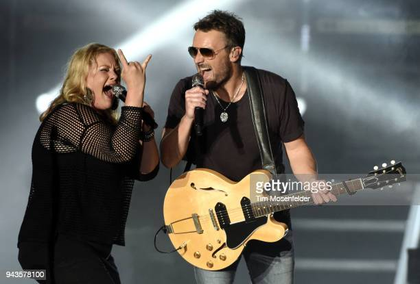 Joanna Cotten and Eric Church perform during the 2018 Tortuga Music Festival on April 8 2018 in Fort Lauderdale Florida