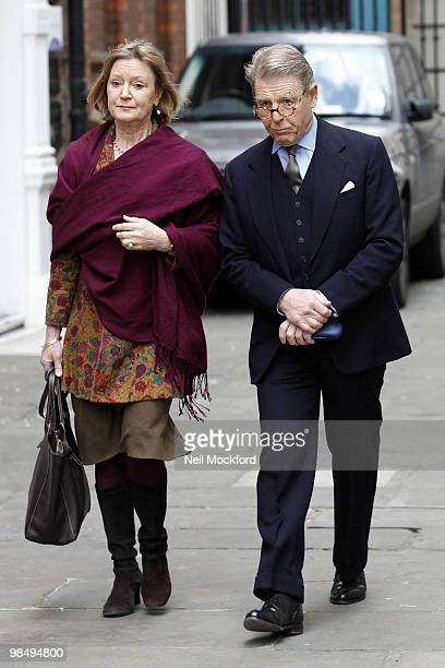Joanna David and Edward Fox attends the funeral of Christopher Cazenove at St Paul's Church Actor's Church Covent Garden on April 16 2010 in London...