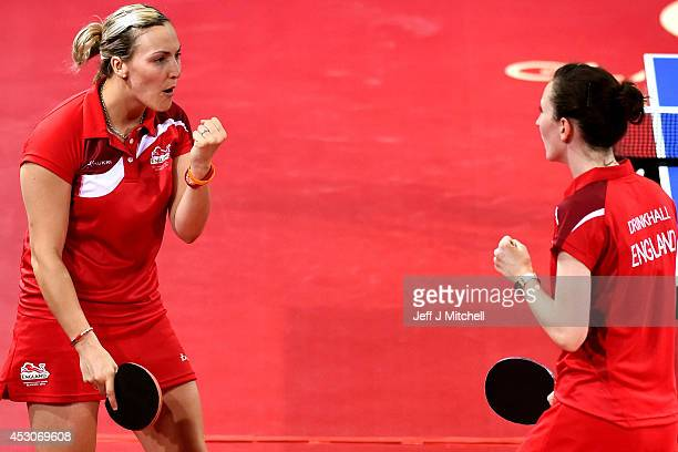 Joanna Drinkhall and Kelly Sibley of England celebrate against Anqi Luo and Mo Zhang of Canada in the Women's Doubles Bronze Medal Match at Scotstoun...