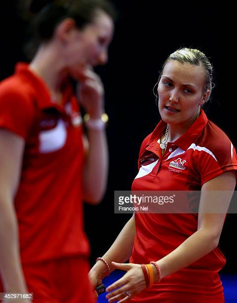 Joanna Drinkhall and Kelly Sibley of England competes during the Women's Doubles at Scotstoun Sports Campus during day eight of the Glasgow 2014...