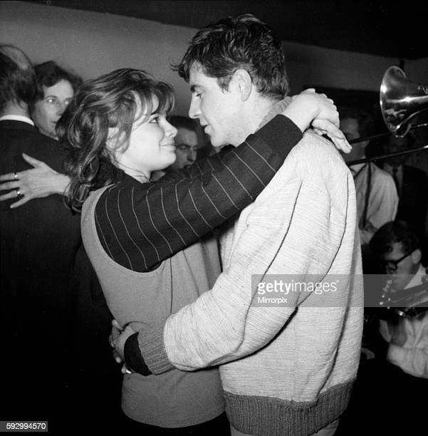 Joanna Dunham and Alan Bates in Cafe de Artistes in Chelsea getting the feel of a Beatnik's lifestyle for the ABC play 'Three on a gas ring' in which...