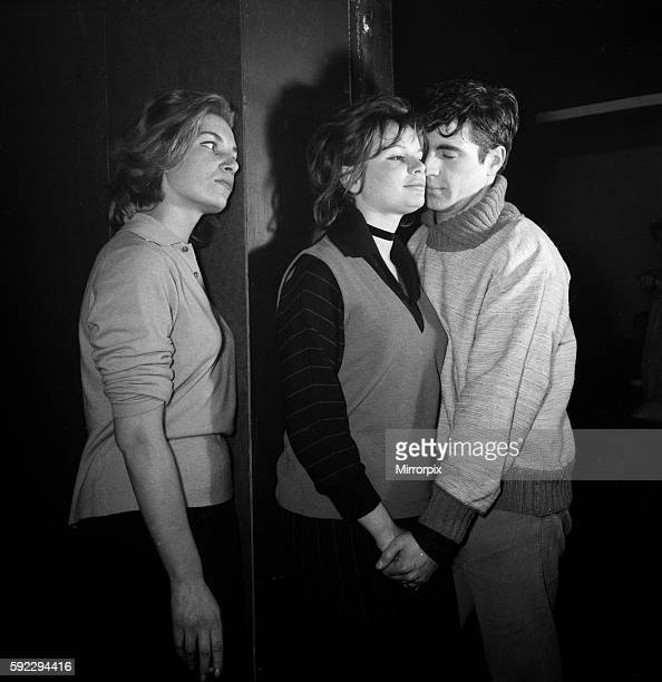 Joanna Dunham Sheila Allen and Alan Bates in Cafe de Artistes in Chelsea getting the feel of a Beatnik's lifestyle for the ABC play 'Three on a gas...