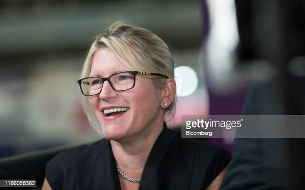 Joanna Geraghty president and chief operating officer of JetBlue Airways Corp speaks during a Bloomberg Television interview at the World Aviation...