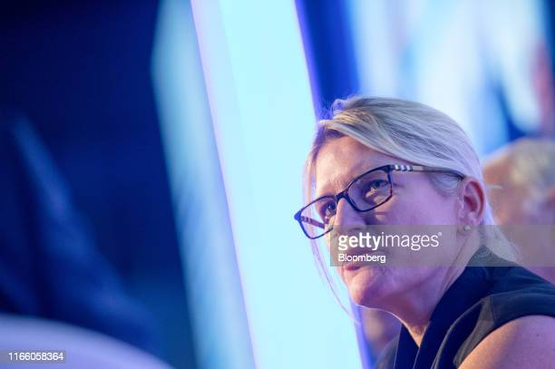 Joanna Geraghty president and chief operating officer of JetBlue Airways Corp speaks during a panel session at the World Aviation Festival in London...