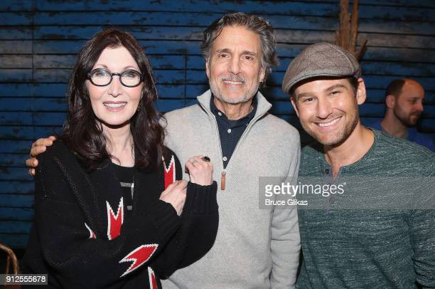 Joanna Gleason Chris Sarandon and Chad Kimball pose backstage at the hit musical 'Come From Away' on Broadway at The Schoenfeld Theatre on January 30...