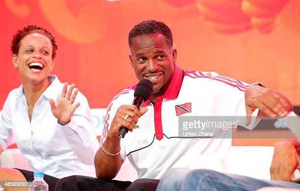 Joanna Hayes and Ato Boldon on stage as Jesse Owens' daughter and granddaughter talk about RACE a forthcoming feature film about Owens' quest to...