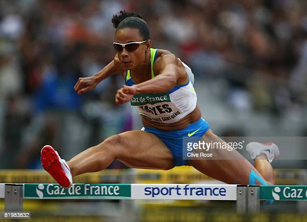 Joanna Hayes of USA competes in the Women's 100m Hurdles during the IAAF Golden League Gaz de France meeting at the Stade de France on July 18 2008...