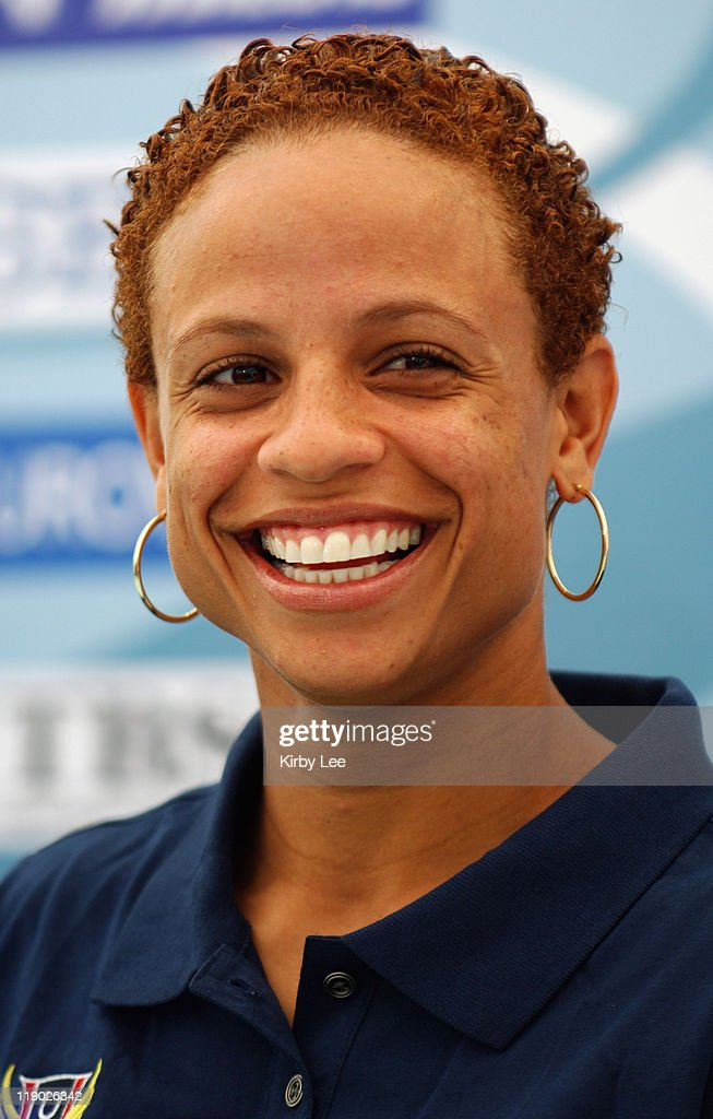 Joanna Hayes smiles during Team USA Press Conference for the IAAF World Championships in Athletics at Olympic Stadium in Helsinki, Finland on Friday, Aug. 5, 2005.