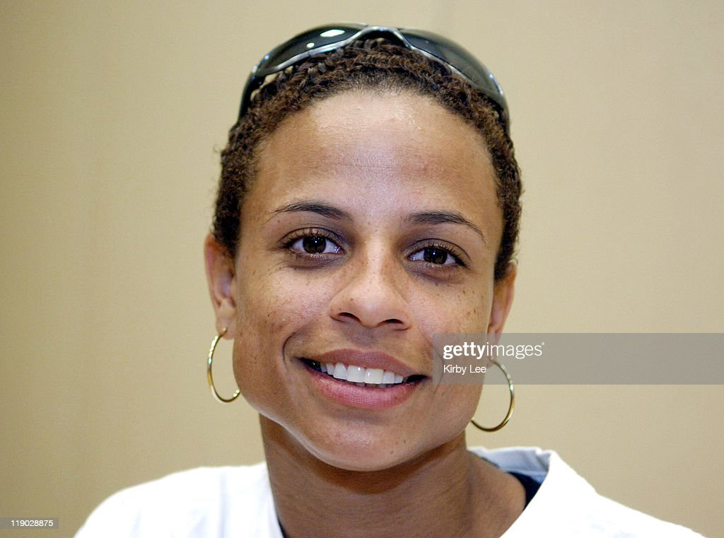 Joanna Hayes, the 2004 Olympic gold medallist in the women's 100-meter hurdles, at the Prefontaine Classic press conference at the Valley River Inn in Eugene, Ore. on Friday, June 3, 2005.
