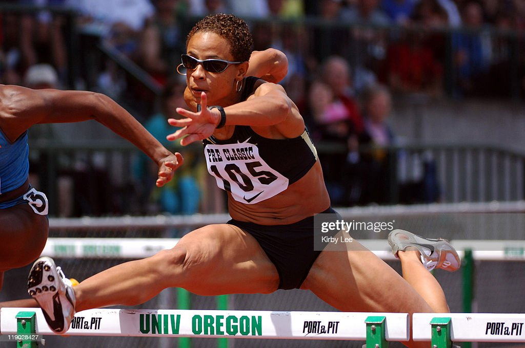 Joanna Hayes was second in the women's 100-meter hurdles in 12.72 seconds in the 31st Prefontaine Classic at the University of Oregon's Hayward Field in Eugene, Ore. on Saturday, June 4, 2005.