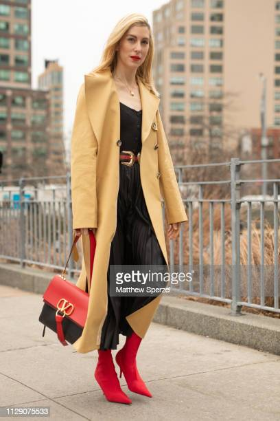 Joanna Hillman is seen on the street during New York Fashion Week AW19 wearing Zimmermann on February 11 2019 in New York City