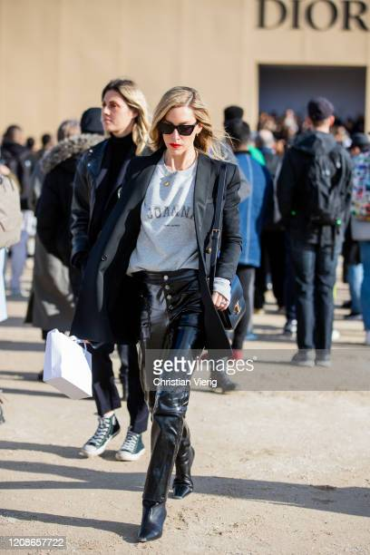 Joanna Hillman is seen outside Dior during Paris Fashion Week - Womenswear Fall/Winter 2020/2021 : Day Two on February 25, 2020 in Paris, France.