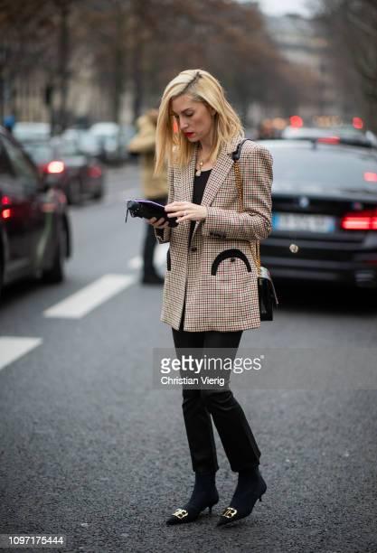 Joanna Hillman is seen wearing beige plaid blazer outside Acne during Paris Fashion Week Menswear F/W 20192020 Day Six on January 20 2019 in Paris...