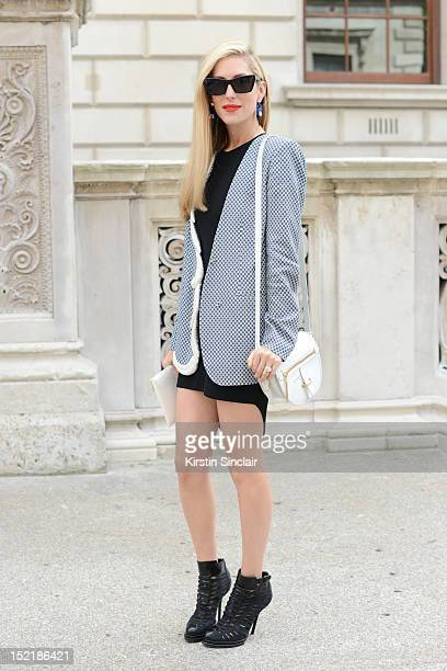 Joanna Hillman, Senior Fashion Market Editor, Harper's Bazaar US wearing Alexander Wang shoes and dress, Phillip Lim bag, stella McCatrney jacket,...