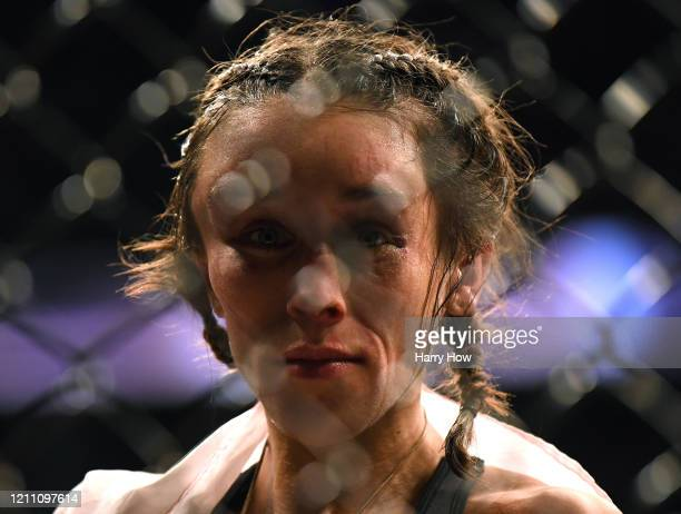 Joanna Jedrzejczyk at the end of her fight during a split decision loss to Weili Zhang in a strawweight title bout at TMobile Arena on March 07 2020...