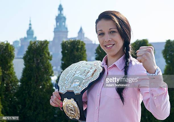 Joanna Jedrzejczyk from Poland poses with UFC Champion Belt during a UFC photo session on roof terrace in Sheraton Hotel on March 20 2015 in Krakow...