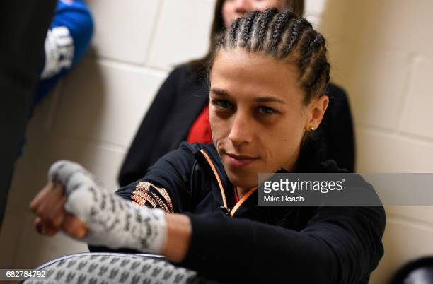 Joanna Jedrzejczyk gets her hands wrapped backstage during the UFC 211 event at the American Airlines Center on May 13 2017 in Dallas Texas