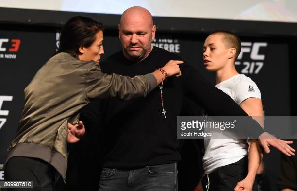 Joanna Jedrzejczyk of Poland and Rose Namajunas face off during the UFC 217 weighin inside Madison Square Garden on November 3 2017 in New York City