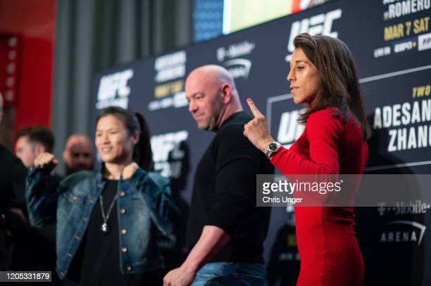 Joanna Jedrzejczyk of Poland and Zhang Weili of China pose for the media during the UFC 248 Ultimate Media Day at UFC APEX on March 5 2020 in Las...