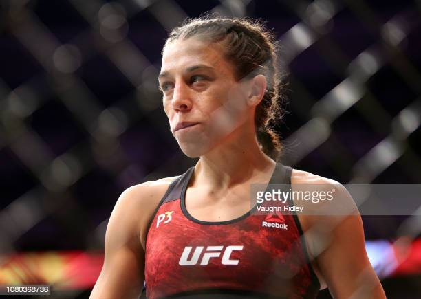 Joanna Jedrzejczyk of Poland enters the ring prior to her fight against Valentina Shevchenko of Kyrgyzstan in a flyweight bout during the UFC 231...