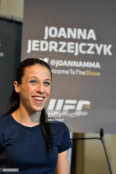 Joanna Jedrzejczyk of Poland interacts with media during the UFC 185 Ultimate Media Day at the American Airlines Center on March 12 2015 in Dallas...