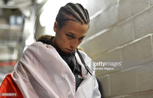 Joanna Jedrzejczyk of Poland prepares to enter the Octagon before facing Karolina Kowalkiewicz of Poland in their UFC women's strawweight...