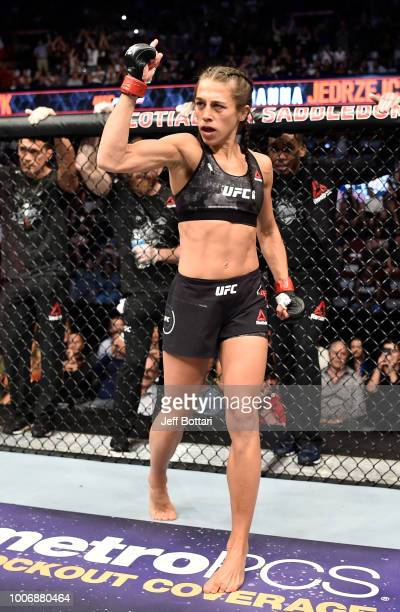 Joanna Jedrzejczyk of Poland prepares to fight Tecia Torres in their women's strawweight bout during the UFC Fight Night event at Scotiabank...