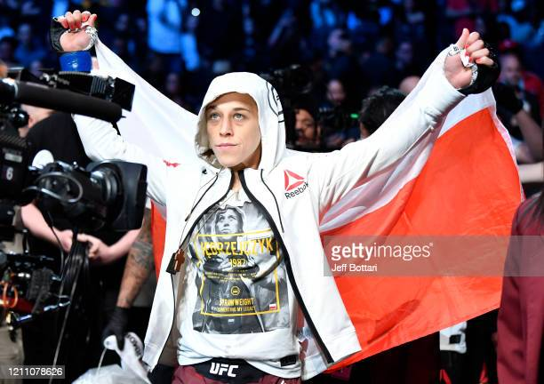 Joanna Jedrzejczyk of Poland prepares to fight Zhang Weili of China in their UFC strawweight championship fight during the UFC 248 event at TMobile...