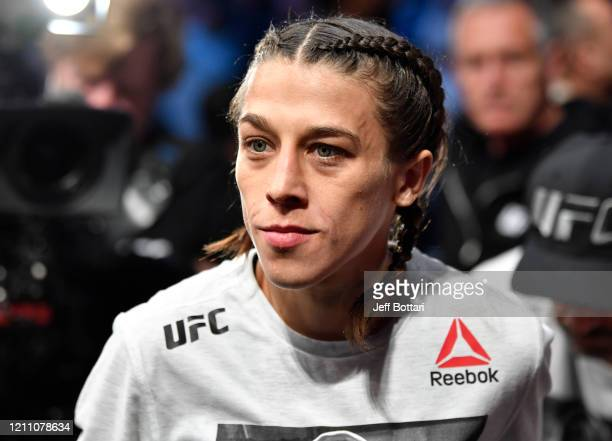 Joanna Jedrzejczyk of Poland prepares to fight Zhang Weili of China in their UFC strawweight championship fight during the UFC 248 event at T-Mobile...