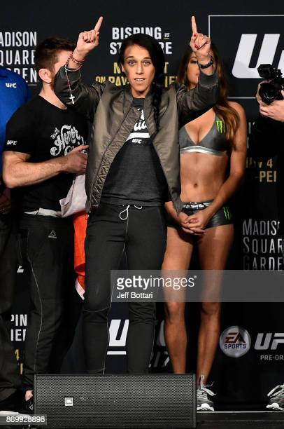 Joanna Jedrzejczyk of Poland speaks to the crowd during the UFC 217 weighin inside Madison Square Garden on November 3 2017 in New York City