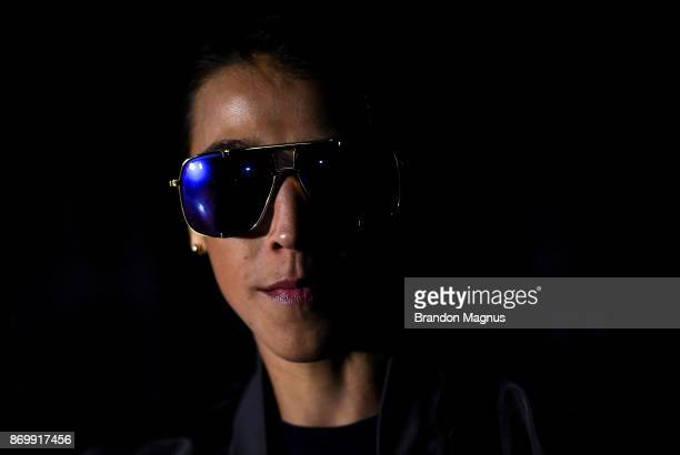Joanna Jedrzejczyk of Poland waits backstage during the UFC 217 weighin inside Madison Square Garden on November 3 2017 in New York City