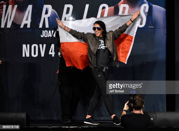 Joanna Jedrzejczyk of Poland walks onstage during the UFC 217 weighin inside Madison Square Garden on November 3 2017 in New York City