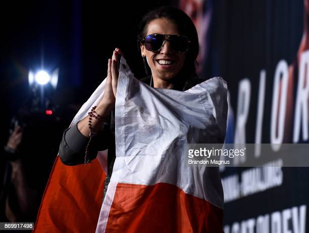 Joanna Jedrzejczyk of Poland walks onto the stage during the UFC 217 weighin inside Madison Square Garden on November 3 2017 in New York City