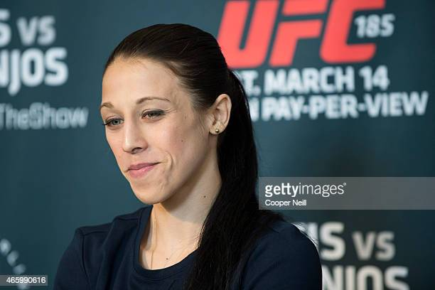 Joanna Jedrzejczyk speaks with the media during the UFC 185 Ultimate Media Day at the American Airlines Center on March 12 2015 in Dallas Texas