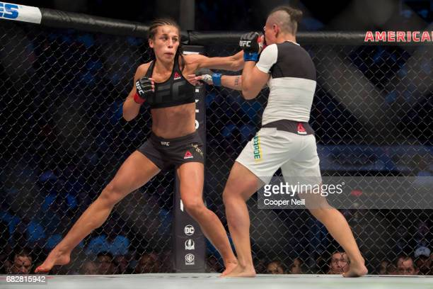 Joanna Jedrzejczyk throws a punch against Jessica Andrade during UFC 211 at the American Airlines Center on May 13 2017 in Dallas Texas