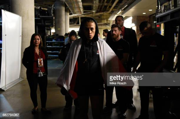 Joanna Jedrzejczyk warms up backstage during the UFC 211 event at the American Airlines Center on May 13 2017 in Dallas Texas