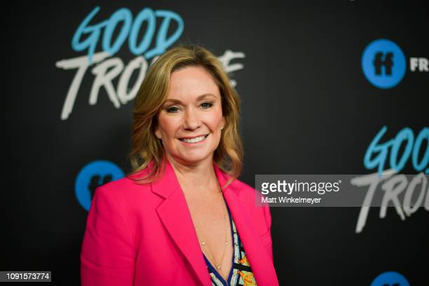 "Joanna Johnson attends the premiere of Freeform's ""Good Trouble"" at Palace Theatre on January 08, 2019 in Los Angeles, California."