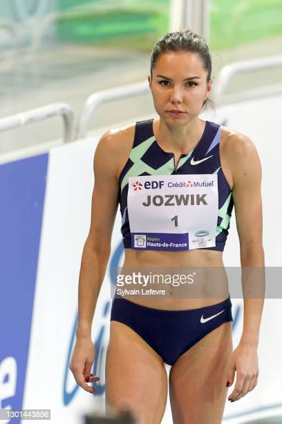 Joanna Jozwik before women's 800m during the World Athletics Indoor Tour at Arena Stade Couvert on February 9, 2021 in Lievin, France.